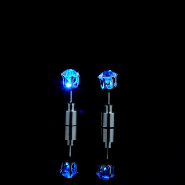 Cool Unisex Light Up Led Blinking Earrings Ear Studs