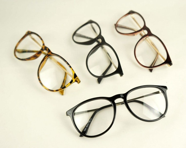 Picture of Women's Fashion Optical Glasses Eyewear Vintage Round Clear Lens Frame With Metal Legs Unisex