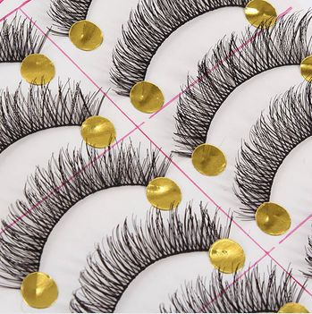 Picture of 10 Pairs Black Natural Long Thick False Eyelashes Fake Eye Lashes Makeup Tips Size 10 Pairs Color Black