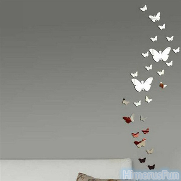 Beautiful Wish | Butterfly DIY 3D Art Silver Acrylic Mirror Wall Sticker Home  Decoration 25Pcs