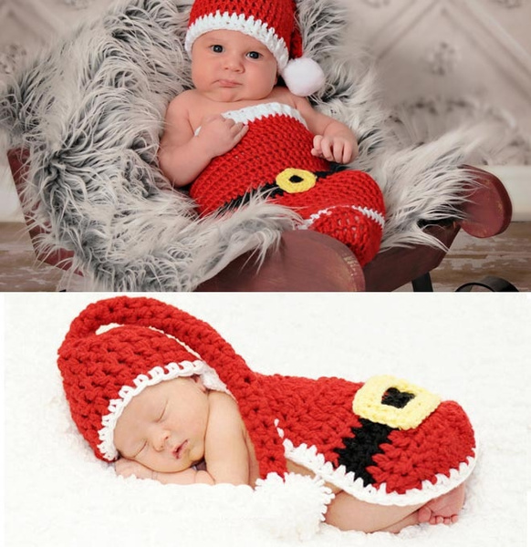Christmas Santa Claus Hats With Shorts Sets Suits Handmade Outfits Newborn Infant Baby Boys Prince Girls Costume Crochet Clothing Sets Beanie Cap Shorts Photography Props Knitted Cap Hat 0 6month Wish