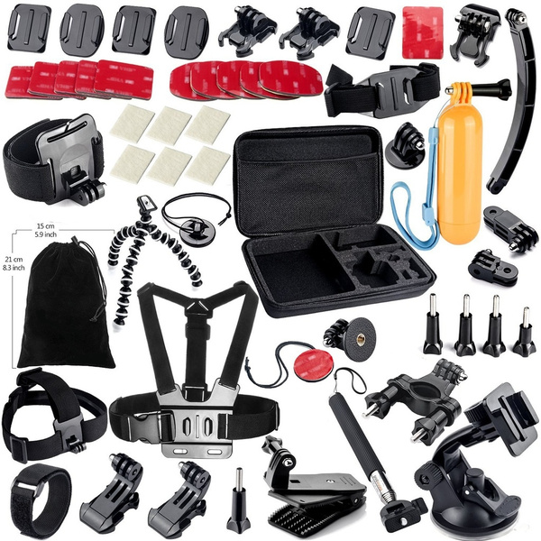 Picture of Gopro All-in-one Accessories Bundle Kits For Gopro Hero43+3 Hero Cameralarge Size Bag + Chest Strap + Head Strap +Suction Cup + Handheld Monopod+ Floating Grip + Bike Mount + Motorcycle Mount + Wrist Strap + Helmet Strap + Wrist Strap + Anti-fog Insert + Floaty Set + 3 Way Pivot Arm +Pouch