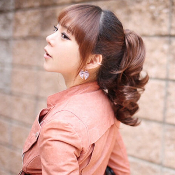 Wish Vogue Lady Hairpiece Short Wavy Curly Claw Hair Ponytail Clip