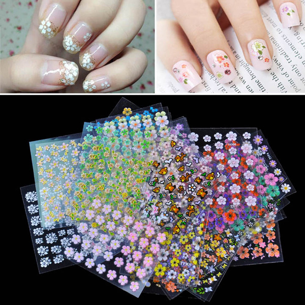 Picture of 2016 Hot 10 Sheet 3d Mix Color Floral Design Nail Art Stickers Decals Manicure Beautiful Fashion Accessories Decoration Color Multicolor