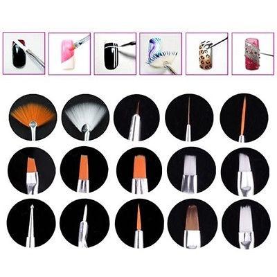 Picture of 15 X Nail Art Uv Gel Design White Pen Painting Brush Set For Salon Manicure Tool