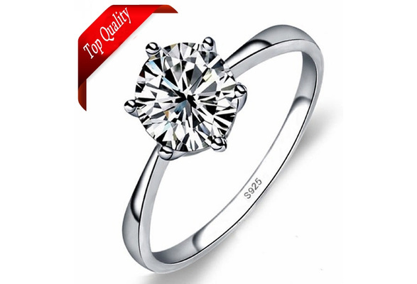 Fashion Bague en Argent Jewelry Brilliant Wedding 925 Sterling Silver Rings with CZ Charm Jewelry for Women