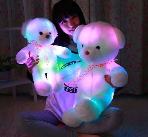 LED Light Colorful Luminous Stuffed Teddy Bear Plush Doll Toys GIFT 30cm