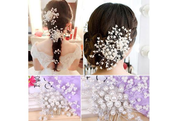 Elegant Wedding Pearl Crystal Bridesmaid Bridal Party Hair Comb Hairpin