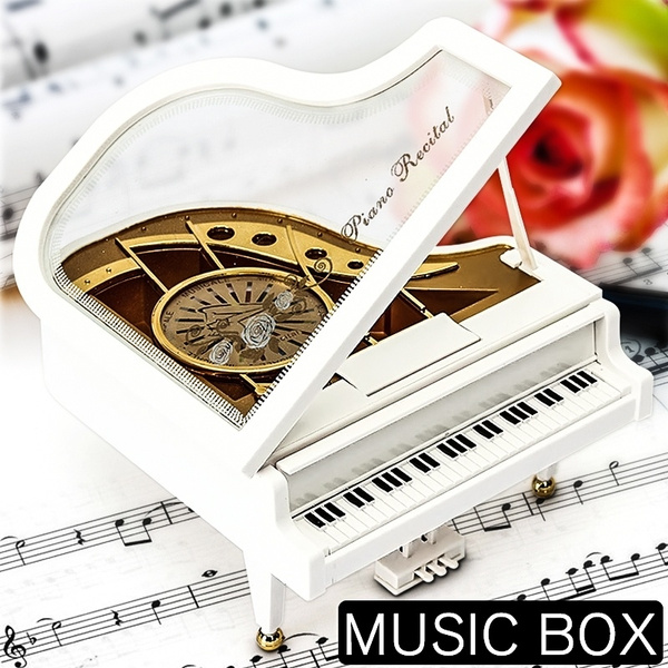 Picture of Elegant Handicraft Mechanical Classical Piano Music Box Dancing Ballerina Musical Toy For Elis Christmas Valentine's Day Birthday Gift Color White