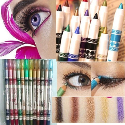 Picture of 12 Colors Glitter Lip Liner Eye Shadow Eyeliner Pencil Pen Cosmetic Makeup Set