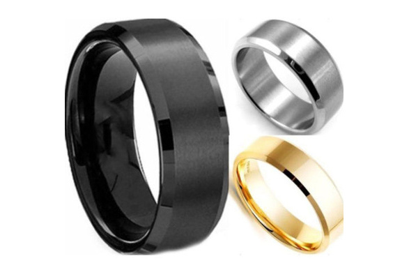 Hot Stainless Steel Ring Band Titanium Silver Black Gold Men Size 8 to 11 Wedding