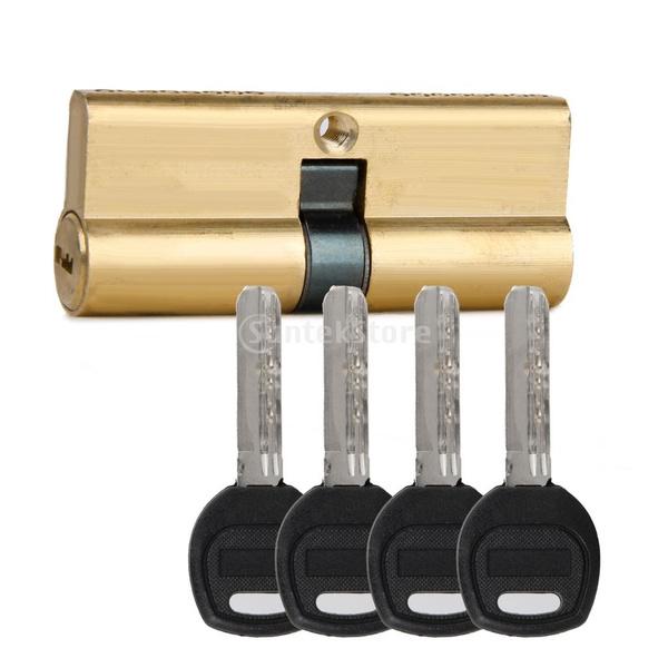 7 keys 75MM 37.5//37.5 Brass Key Cylinder Door Lock Barrel Anti Bump//Drill