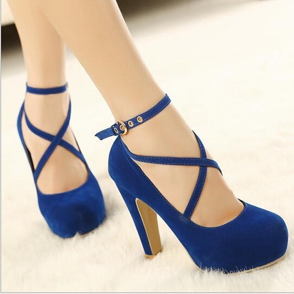 Picture of Women Strappy High Thin Heels Pumps Sexy Women Dress Shoes Ladies Wedding Wear Low Cut Cross Buckle Black/blue/red