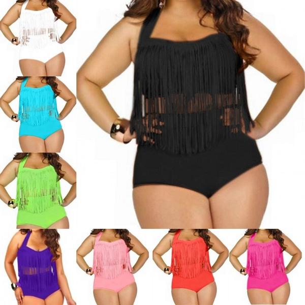 5f40edcd133f5 Women's Plus Size Fringe Swimwear Bathing Suit 2 Pieces Set with ...