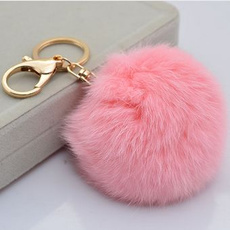 Cute Genuine Leather Rabbit fur ball plush key chain for car key ring Bag Pendant car keychain