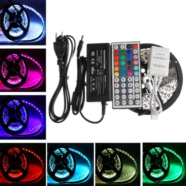 Picture of 10m 3528 Smd 600leds Rgb 2x 5m Led Light Strip+44 Key Ir Remote Controller Dc12v Non-waterproof