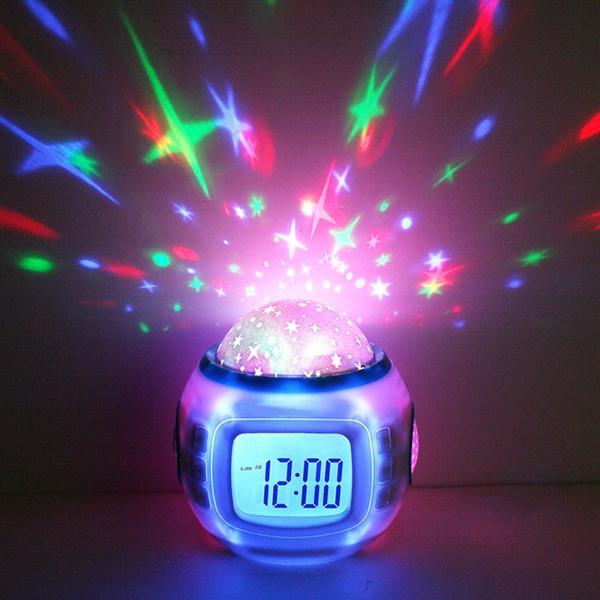 Picture of Room Sky Star Night Light Projector Lamp Bedroom Music Alarm Clock