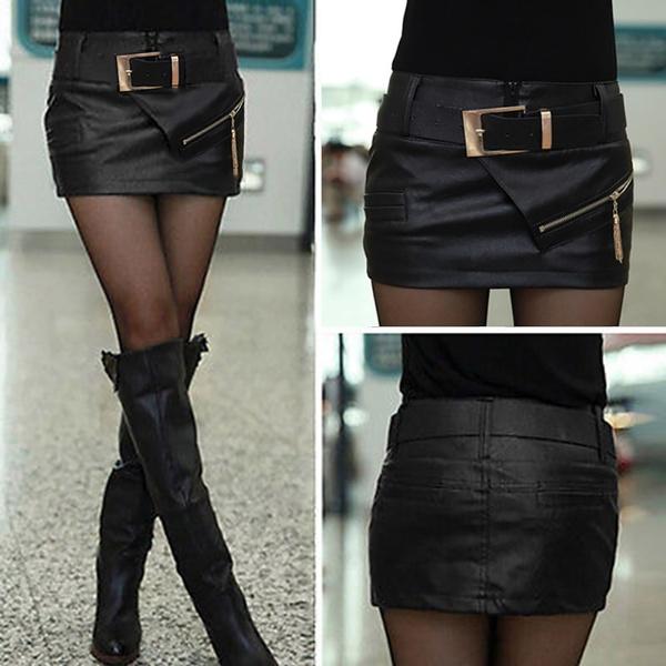 576c644d3 Newest Fashion Women Lady Girl Black Faux Leather Sexy Mini Short Skirt  Shorts & Belt   Wish