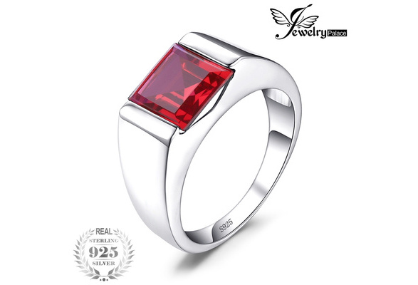 Jewelrypalace Men's Square 3.3ct Created Red Ruby 925 Sterling Sliver Engagement Ring