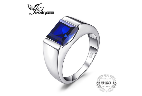 JewelryPalace Men's Square 3.3ct Created Blue Sapphire Engagement Ring Solid 925 Sterling Sliver