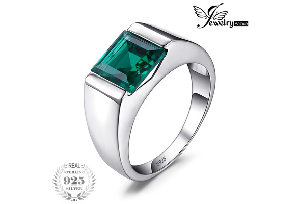 Jewelrypalace Men's Square 2.2ct Created Russian Nano Green Emerald Engagement Ring 925 Sterling Sliver