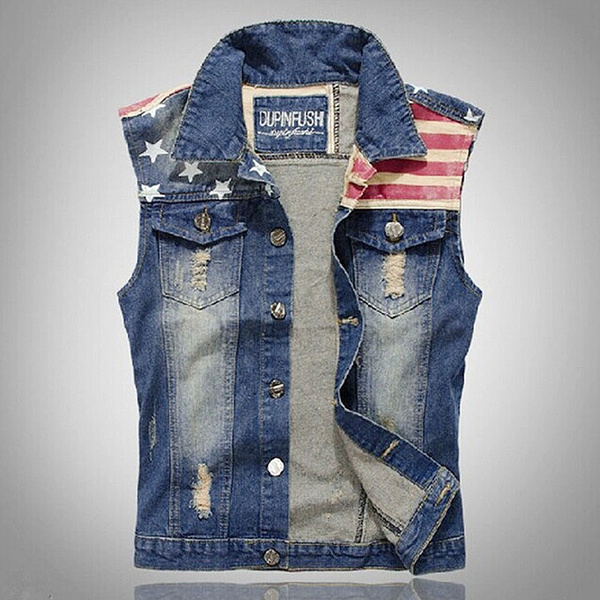 details for enjoy big discount discount collection Mens Collared Blue Denim Vest Jean Jacket Fitted Sleeveless Trucker Vest