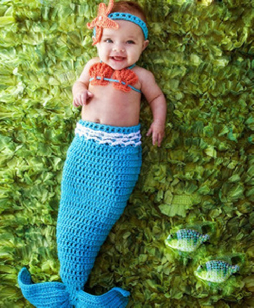 Wish Newborn Baby Blue Mermaid Infant Kintter Crochet Costume