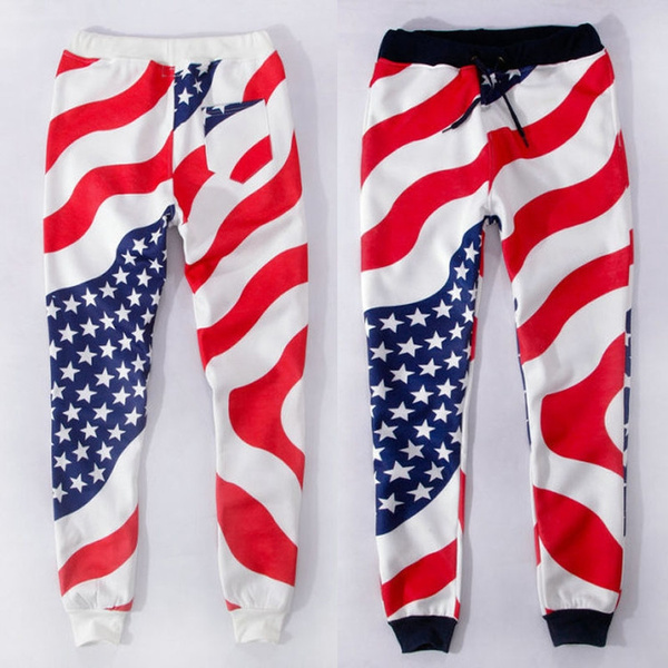 High Quality Unisex Men Women American Flag Sweatpants Sports Running  Cotton USA Flag emoji Joggers Outfit 03-009