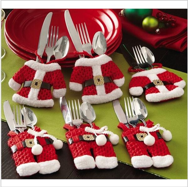 Decor, Christmas, silverwareholdercover, tabledecor