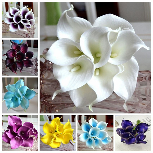 Picture of 14 Colors 9pcs Calla Lily Bridal Wedding Bouquet Real Touch Artificial Flowers Calla Lilies