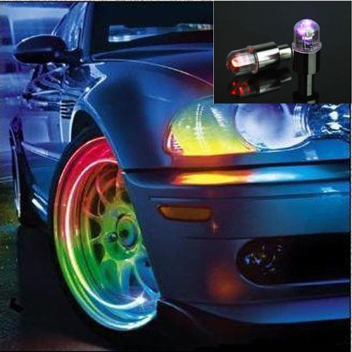 Picture of 2pcs Colorful Led Tyre Tire Valve Caps Neon Light Bike Car Motorcycle