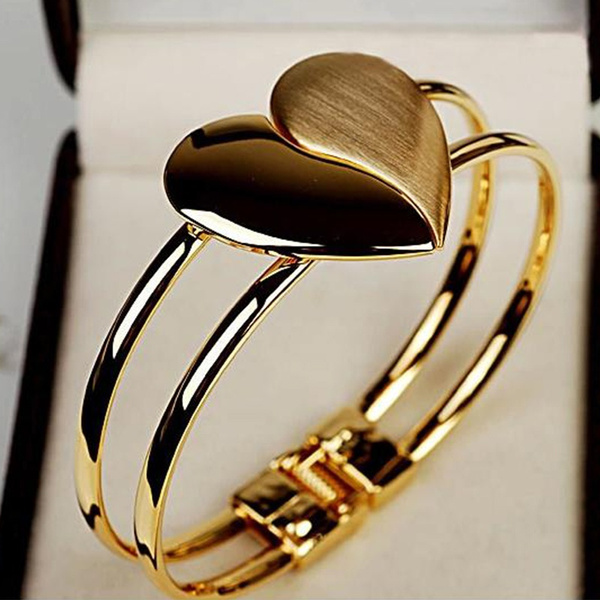 Picture of Women's Sweet Heart Bracelet Cuff Bangle Hand Chain Silver Gold