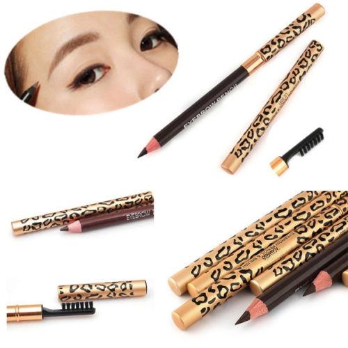 Picture of New Waterproof Brown Black Leopard Cosmetic Makeup Eyebrow Pencil Eyeliner Brush