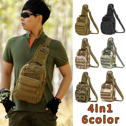 Picture of New Men Tactical Cotton Chest Bags Solid Canvas Sports Shoulder Messenger Bag Male Crossbody Zipper Outdoor Bolsa Men's Travel Bags