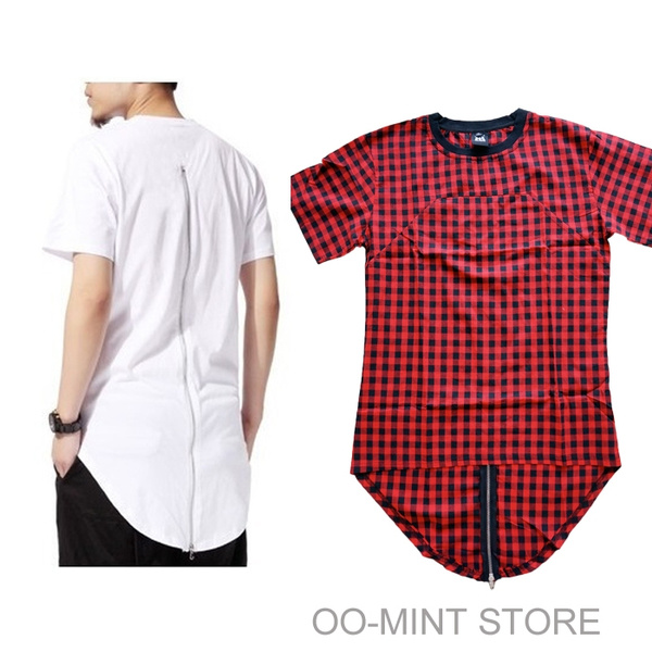 bf782280c Black/White/Red Plaid XXXL Long Back Zipper Streetwear Swag Man Hip ...