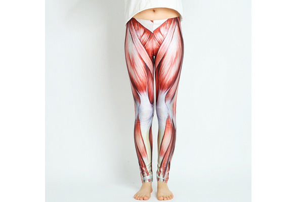 Wish Muscle Leggings Women Muscle Tights Printed Pants Yoga