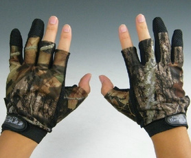 HOT Green Climbing Hunting Skidproof Pack 3 Cut Finger Anti Slip Fishing Camo Gloves camouflage One Size Fits All