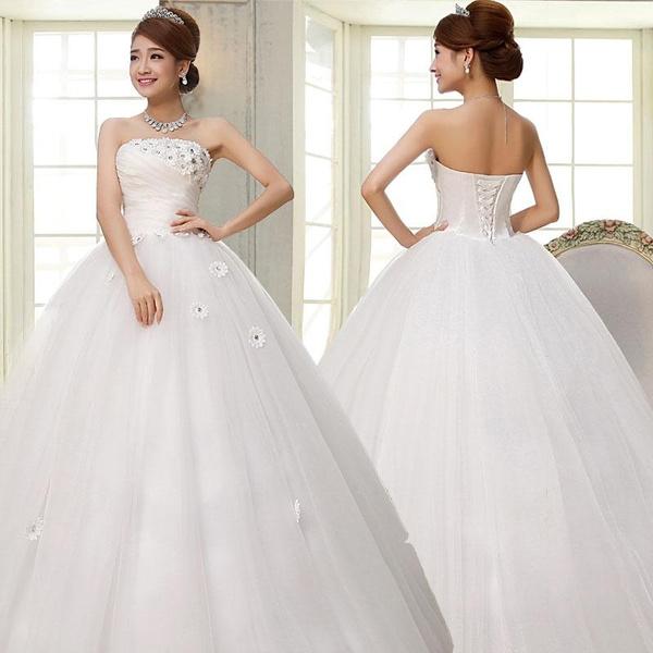 New Diamond Lace Wedding Dress Gown Fitted Bodice Dress Straps Waist