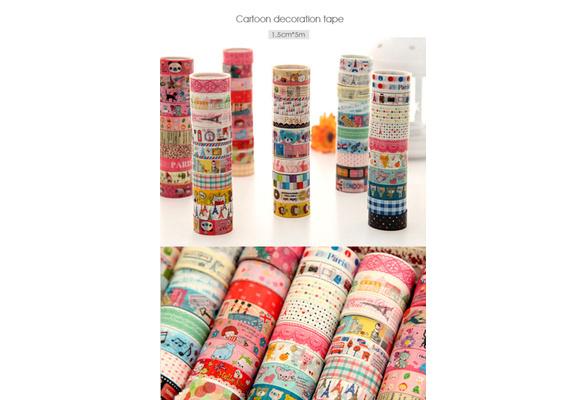 Bulk 10Pcs/1.5cm*3 Meter Paper Sticky Adhesive Sticker Decorative Washi Tape