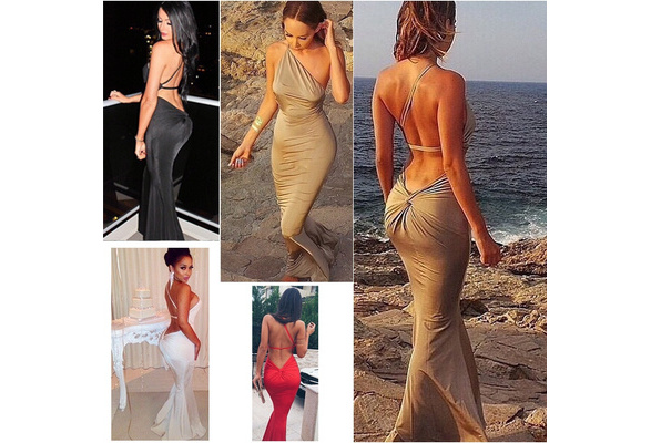 Fashion Women Sexy Dress Wedding Formal Prom Gown Ball One Shoulder Backless Strap Clubwear Party Sleeveless 4 Colors S-XL