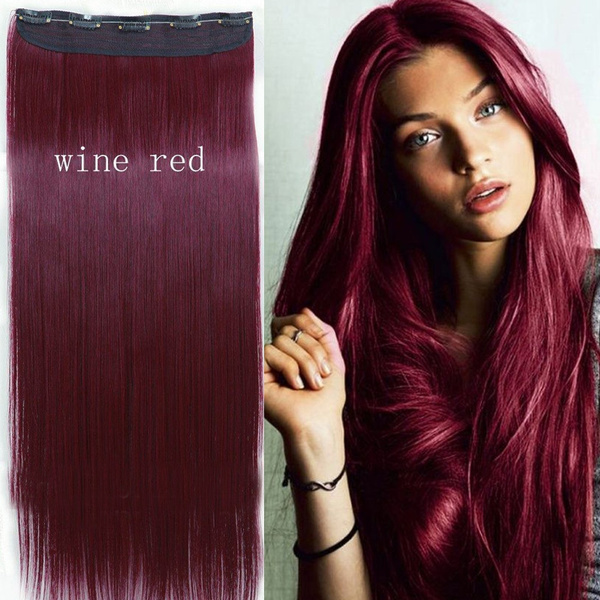 Wish 2017 Perfect Hair Color Wine Red Straight Clip In Hair