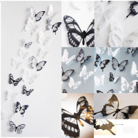 18 Pieces 3D Butterfly Crystal Transparent Decor Wall Sticker Home Wall Decals