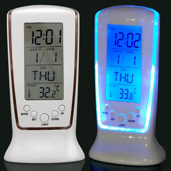 Digital Backlight LED Display Table Alarm Mini Clock Snooze Thermometer Calendar