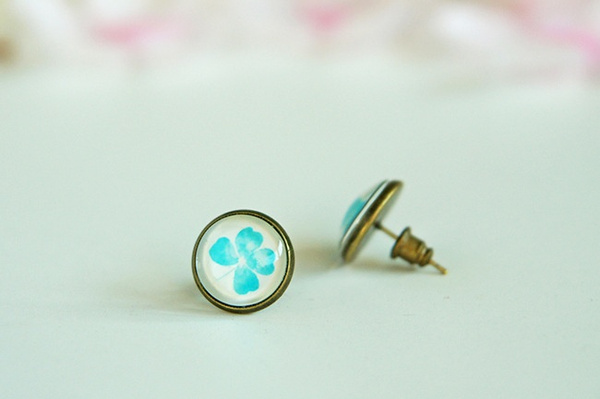 Wish Clover Earrings Studs Lucky Green Mint White Gl Dome Four Leaf Stud Cabochon Spring Summer Fashion
