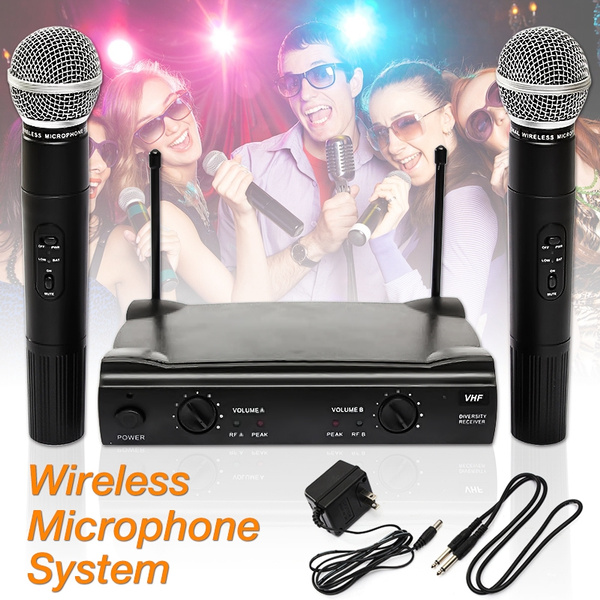 Picture of Dual Wireless Professional Microphone System Receiver Cordless Ut4 Type W/ 2 Handheld Mic Karaoke Ktv Dj Color Black
