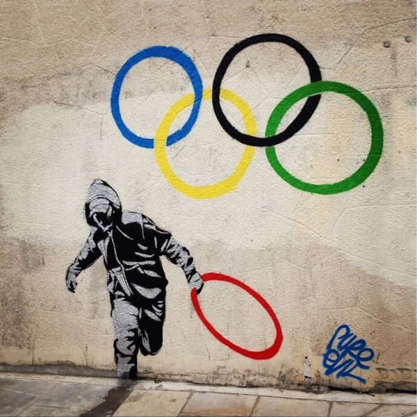 Olympic Rings Banksy Canvas