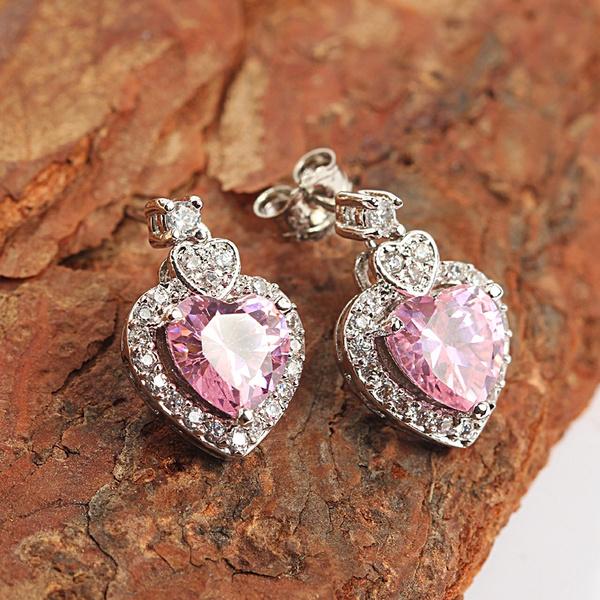 pink, Sterling, Hoop Earring, Dangle Earring