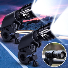 2x Twin 300LM Q5 LED Flashlight Zoomable Adjustable Focus Torch Lamp Bike Cycling Head Light Front Torch SET 3 Modes