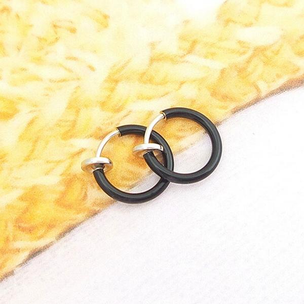 2PCS Fake Studs Earrings Goth Punk Clip On Piercing Body Nose Lip Ear Hoop Rings