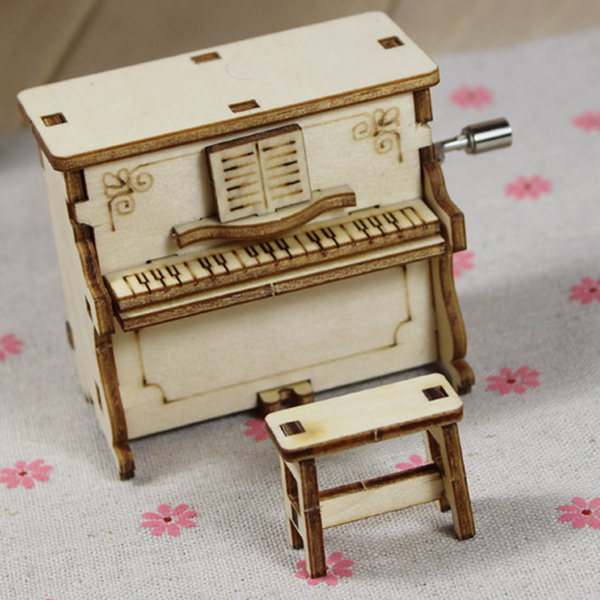 Picture of Diy Wooden Music Box Hand Crank Happy Birthday Holiday Party Present Children Gift Musical Toy Piano Style
